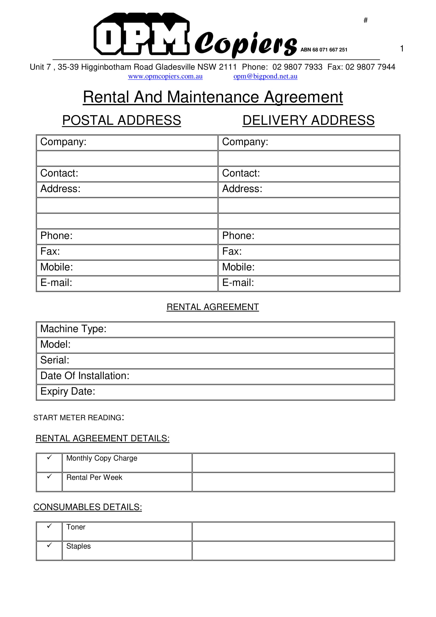 rental and maintenance agreement