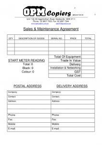 sales & maintenance agreement